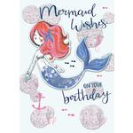 Hand Finished Mermaid Birthday Card