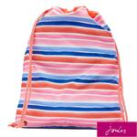 Joules Rubber Drawstring Bag, Pink Rainbow Stripe