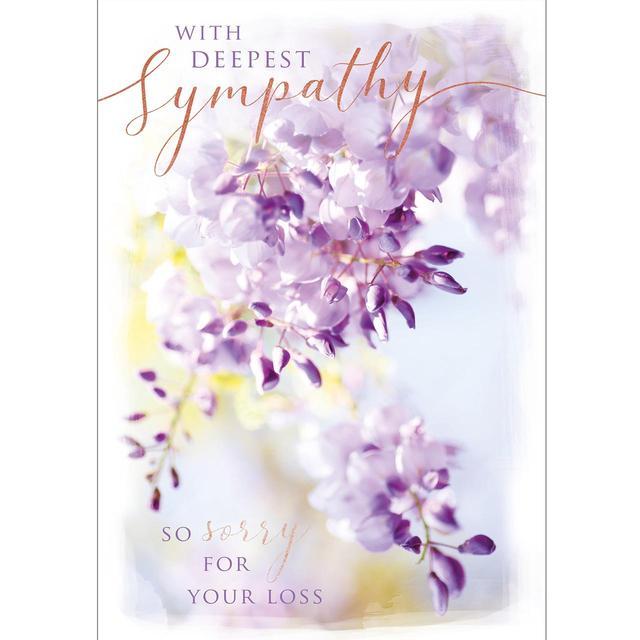 wisteria flowers sympathy card from ocado