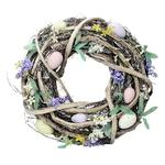 Twig Wreath with Pastel Flowers & Eggs