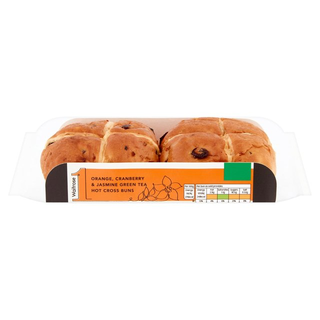 Waitrose 1 Cranberry Orange & Green Tea Hot Cross Buns