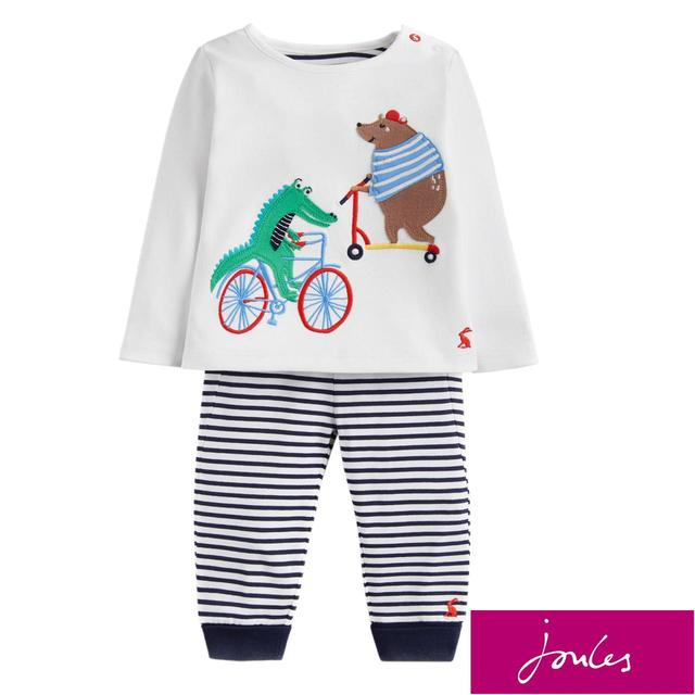 Joules Stripe Transport Animals Top And Trouser Set