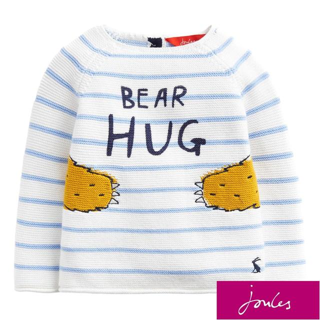 Joules Blue Stripe Bear Hug Jumper