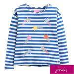 Joules Cream Stripe Long Sleeved T-Shirt