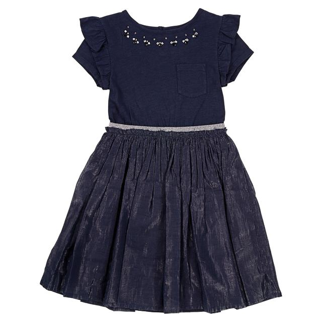 Waitrose Mini Metallic Blue Beaded Party Dress,