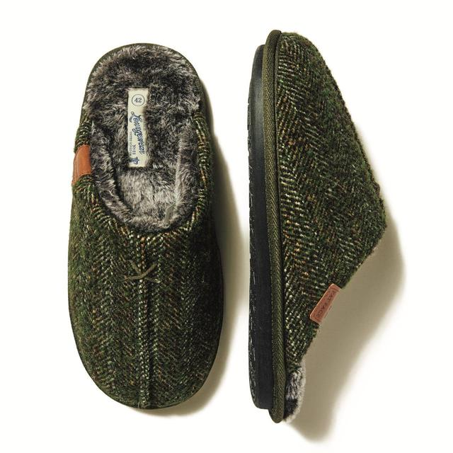 FatFace Men's Tweed Slippers, Green