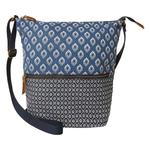 FatFace Woodblock Geo Canvas Cross Body Bag, Blue