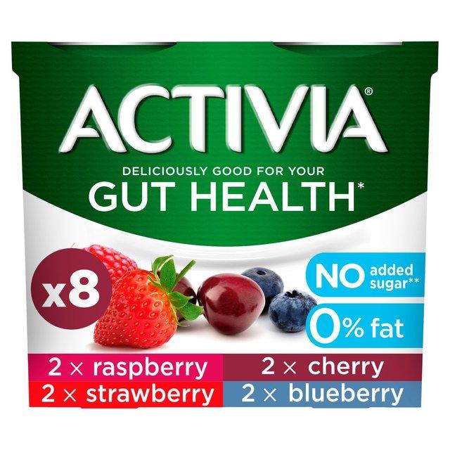 Activia No Added Sugar 0% Fat Raspberry, Strawberry, Cherry and