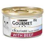 Gourmet Solitaire Wet Cat Food Tin, Beef in Tomato Sauce