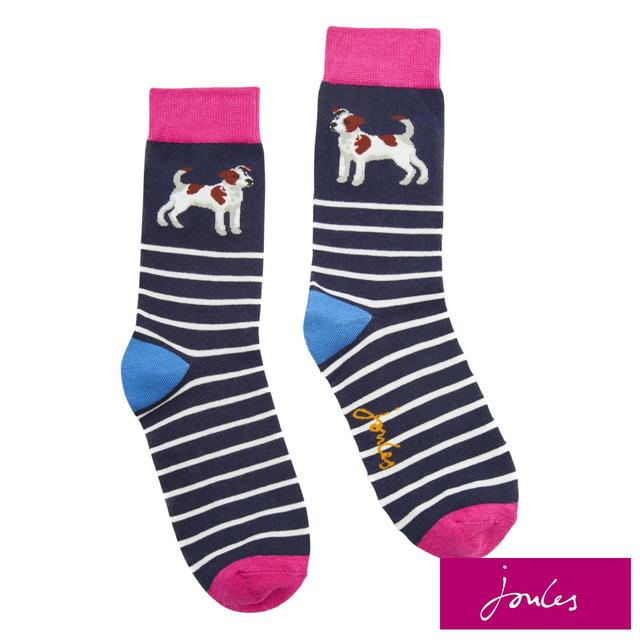 Joules Womens Socks, Navy Terrier, Size 4-8
