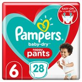 Pampers Baby-Dry Pants Size 6, 28 Nappy Pants,  Essential Pack
