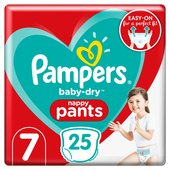 Pampers Baby-Dry Pants Size 7, 25 Nappy Pants, Essential Pack