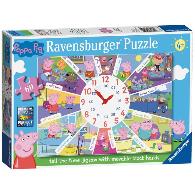 Peppa Pig Tell the Time Clock Puzzle, 60pc Jigsaw Puzzle