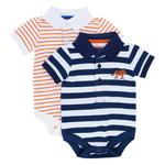Waitrose Mini Roarsome Stripe Polo Bodysuits 2 pack