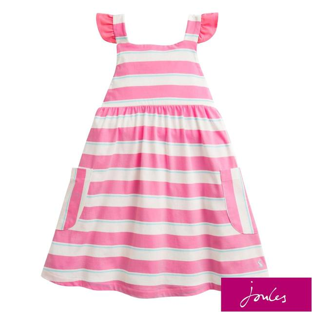 Joules Bright Pink White Stripe Dress