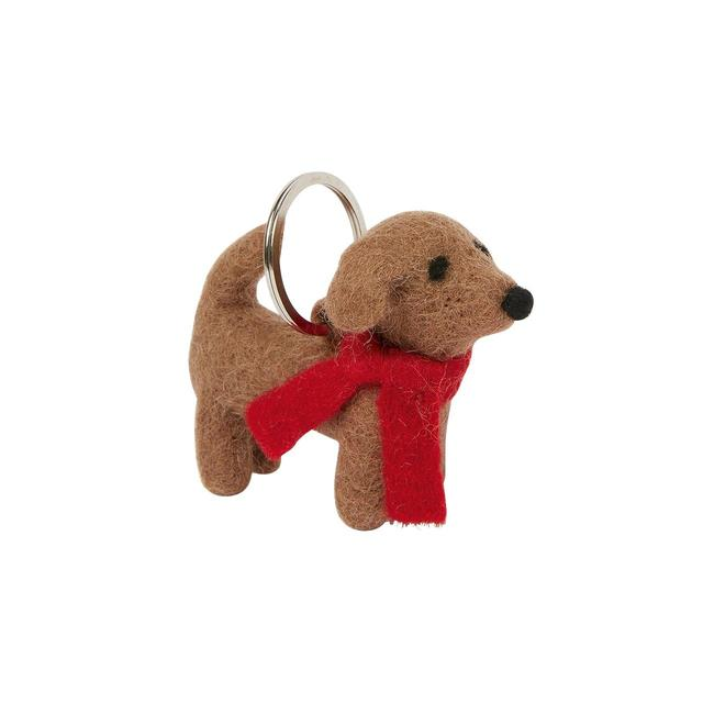 FatFace Felt Sausage Dog Keyring, brown