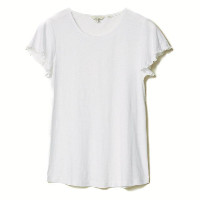 FatFace Womens Frill Sleeve Tee, White