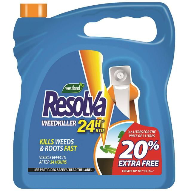 resolva 24h ready to use weed killer 3l 20 extra free. Black Bedroom Furniture Sets. Home Design Ideas