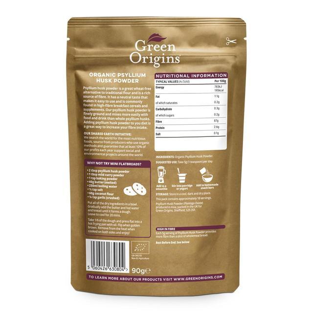 Green Origins Organic Psyllium Husk Gluten-Free Flour (Raw