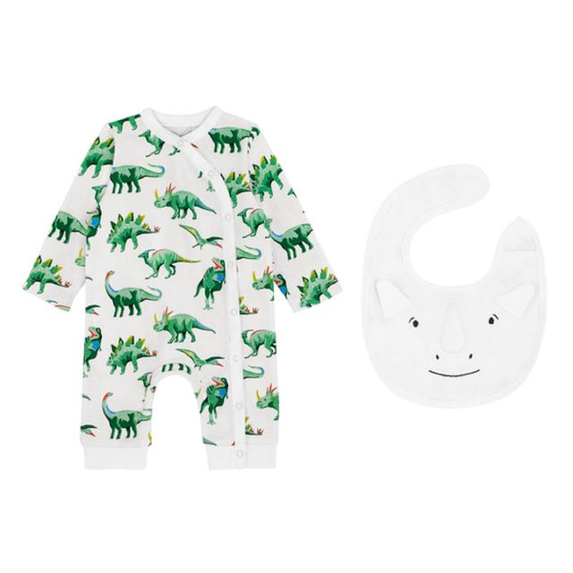 Cath Kidston Wrapover Sleepsuit and Bib Set Jurassic Ivory