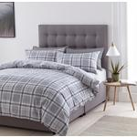 Silentnight Nils Check Printed Duvet Set Double Bed, Grey