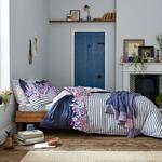 Joules Cottage Garden Borer Stripe Double Bed Cover Comet