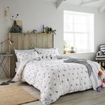 Joules Garden Dogs Double Bed Cover, White
