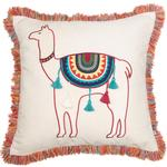 Malini Llama Applique Cushion With Fringing