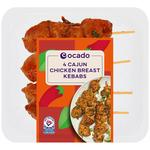 Ocado 4 Cajun Chicken Breast Kebabs