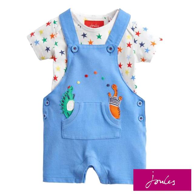 Joules Dungaree And T-Shirt Set, Blue Dino Star