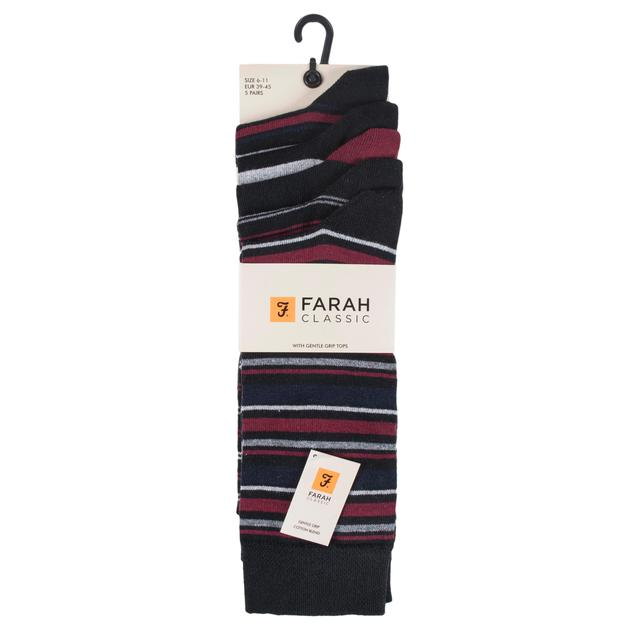 Size 6-11 3 Pairs Mens Charcoal Grey Striped Everyday Cotton Gentle Grip Socks