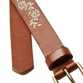 FatFace Floral Embroidered Leather Belt, Tan