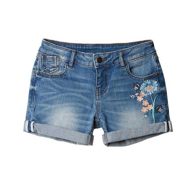 FatFace, Embroidered Denim Shorts, Denim