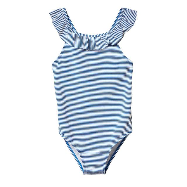 FatFace, Seersucker Stripe Swimsuit, Navy