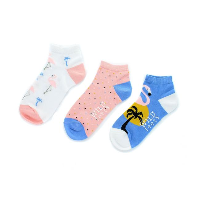 Wild Feet Womens Flamingo Trainer Socks, Size 4 - 8