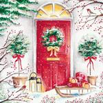 Doorway With Wreath And Sleigh Christmas Charity Card Pack