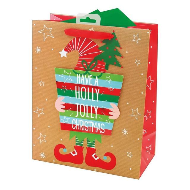 Elf Christmas Gift Bags.Hiding Elf Parcel Gift Bag Large Ocado
