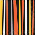 Halloween Orange & Black Stripe Paper Napkin, 13cm