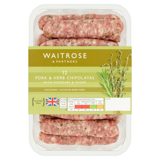 12 British Pork & Herb Chipolatas Waitrose