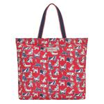 Cath Kidston Large Foldaway Tote, Squiggle Dogs Red
