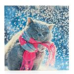 Cat In Snow Christmas Card