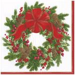 White Evergreen Wreath Christmas Paper Napkin