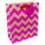 Waitrose Pink Kraft Chevrons Medium Bag