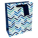Waitrose Blue Chevron Gift Bag, Medium