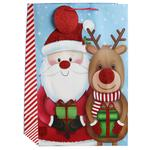 Santa & Reindeer Wide Gift Bag, Large