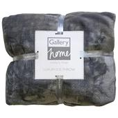 Flannel Fleece Throw, Mid Grey