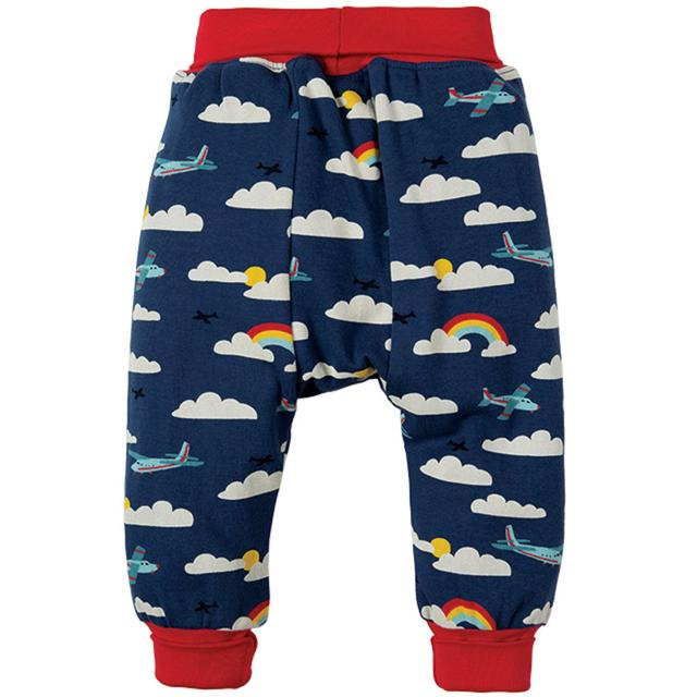 Frugi Organic Harem Style Parsnip Pants with Airplane and Rainbow Design