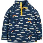 Frugi Organic Fleece Lined Sweatshirt Airplane and Rainbow Design