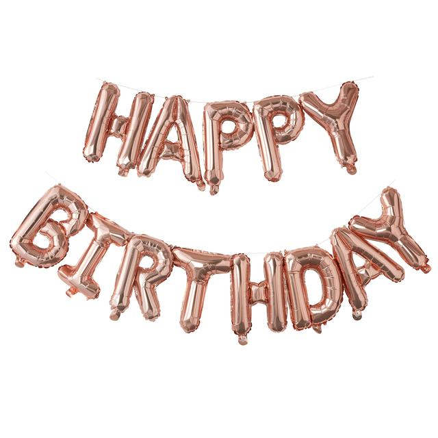 Ginger Ray Happy Birthday Balloon Bunting Rose Gold From Ocado