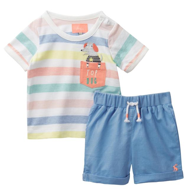 Joules, Top And Short Set, Multi Stripe